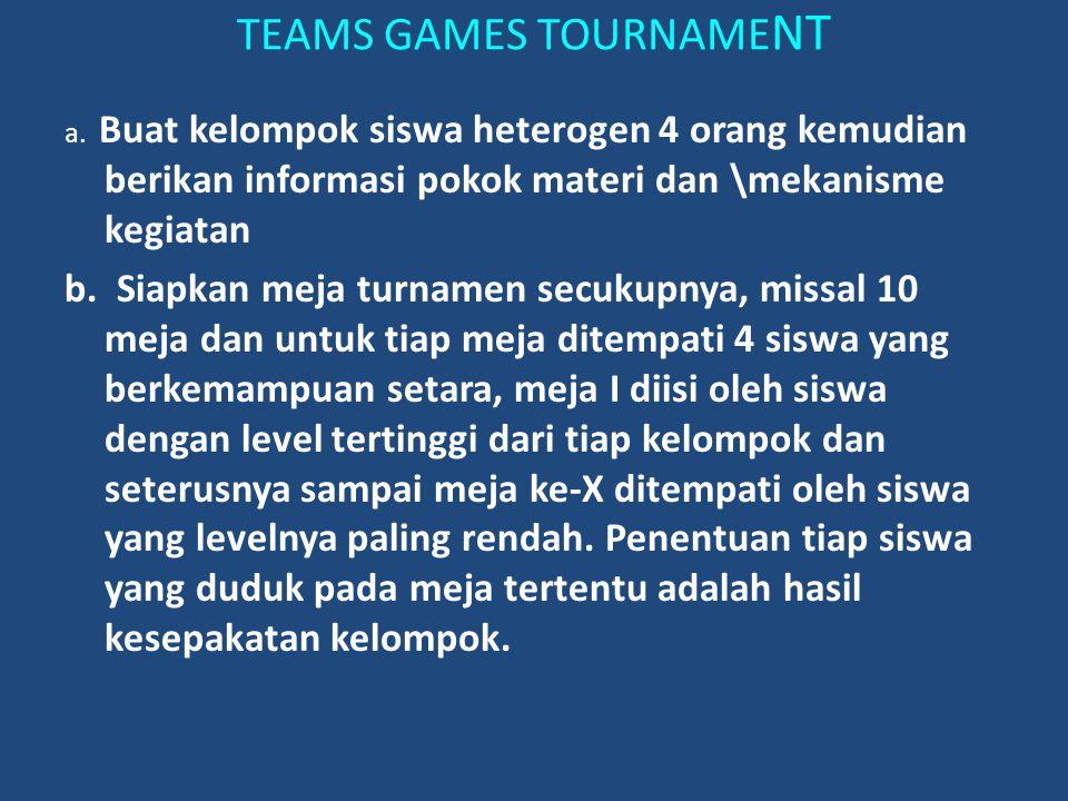 TEAMS GAMES TOURNAME NT a. Buat kelompok siswa heterogen 4 orang kemudian berikan informasi pokok materi dan \mekanisme kegiatan b. Siapkan meja turna