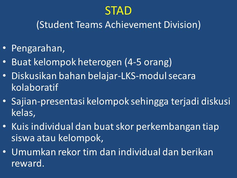 STAD (Student Teams Achievement Division) Pengarahan, Buat kelompok heterogen (4-5 orang) Diskusikan bahan belajar-LKS-modul secara kolaboratif Sajian