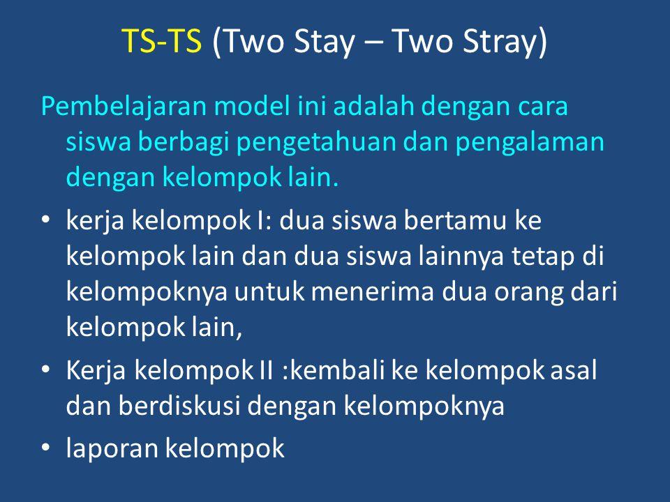 TS-TS (Two Stay – Two Stray) Pembelajaran model ini adalah dengan cara siswa berbagi pengetahuan dan pengalaman dengan kelompok lain. kerja kelompok I