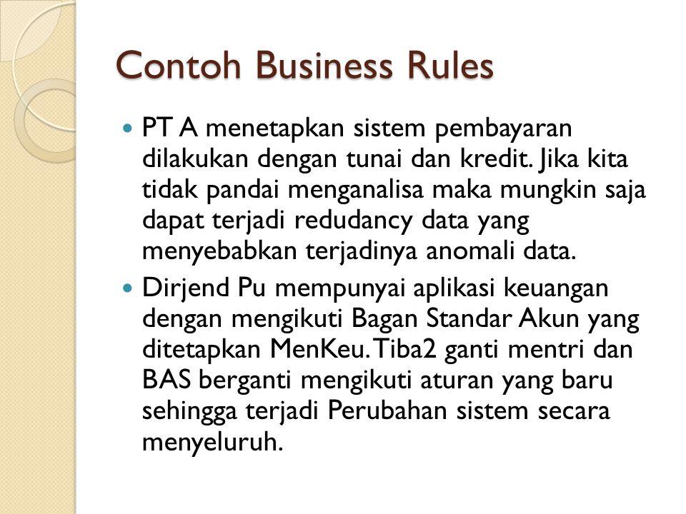 Contoh Business Rules PT A menetapkan sistem pembayaran dilakukan dengan tunai dan kredit. Jika kita tidak pandai menganalisa maka mungkin saja dapat