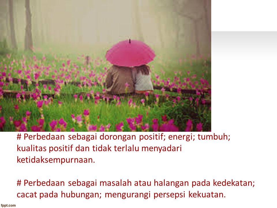 # Perbedaan sebagai dorongan positif; energi; tumbuh; kualitas positif dan tidak terlalu menyadari ketidaksempurnaan. # Perbedaan sebagai masalah atau