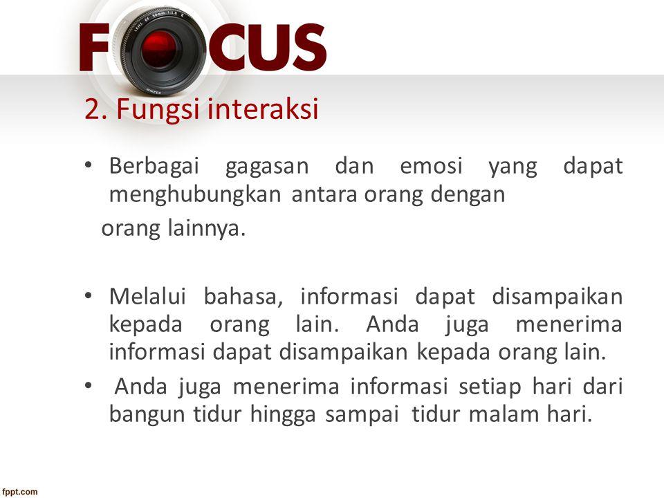 3.Fungsi transmisi informasi Informasi dapat disampaikan kepada orang lain.
