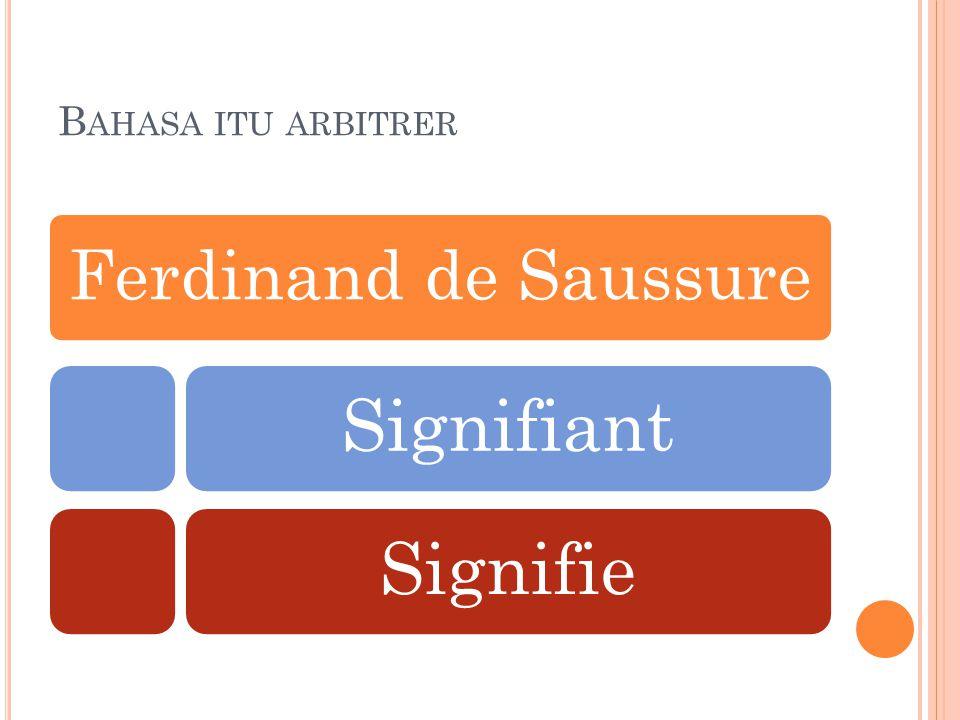 S IGNIFIANT DAN S IGNIFIE 1 Signifiant (bentuk) adalah tanda bahasa yang menyatukan atau menghubungkan suatu konsep dengan citra bunyi, yaitu kesan psikologis bunyi yang timbul dalam pikiran manusia.