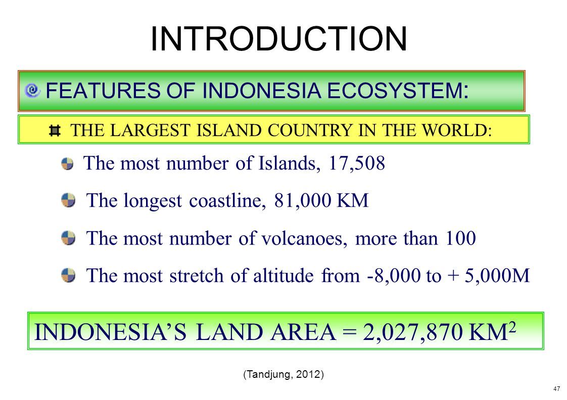 INTRODUCTION FEATURES OF INDONESIA ECOSYSTEM : THE LARGEST ISLAND COUNTRY IN THE WORLD: The most number of Islands, 17,508 The longest coastline, 81,0