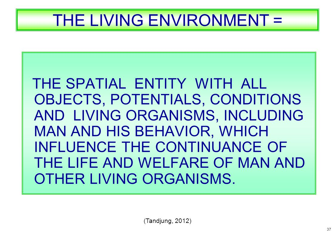 THE LIVING ENVIRONMENT = THE SPATIAL ENTITY WITH ALL OBJECTS, POTENTIALS, CONDITIONS AND LIVING ORGANISMS, INCLUDING MAN AND HIS BEHAVIOR, WHICH INFLU