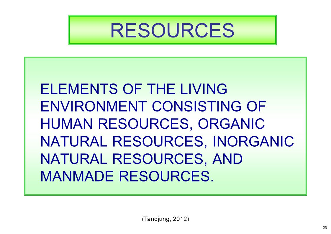 RESOURCES ELEMENTS OF THE LIVING ENVIRONMENT CONSISTING OF HUMAN RESOURCES, ORGANIC NATURAL RESOURCES, INORGANIC NATURAL RESOURCES, AND MANMADE RESOUR