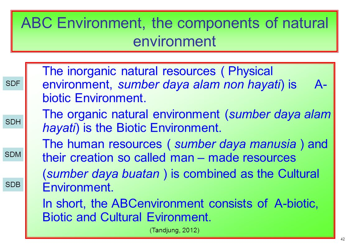 A-biotic or physical/chemical environment consists of 3 elements : water, land, and air.