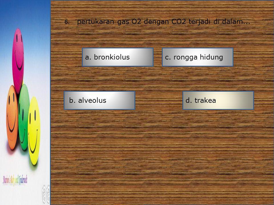 6. pertukaran gas O2 dengan CO2 terjadi di dalam... a. bronkiolus b. alveolusd. trakea c. rongga hidung