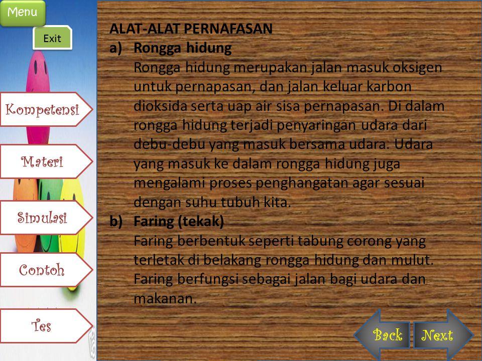 c)Laring (pangkal tenggorokan) Laring terdapat di antara faring dan trakea.