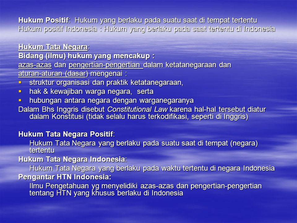Hukum Positif: Hukum yang berlaku pada suatu saat di tempat tertentu Hukum positif Indonesia : Hukum yang berlaku pada saat tertentu di Indonesia Huku