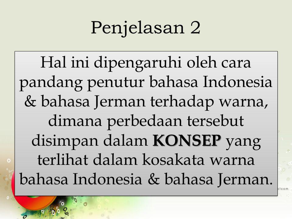 Penjelasan 2 KONSEP Hal ini dipengaruhi oleh cara pandang penutur bahasa Indonesia & bahasa Jerman terhadap warna, dimana perbedaan tersebut disimpan