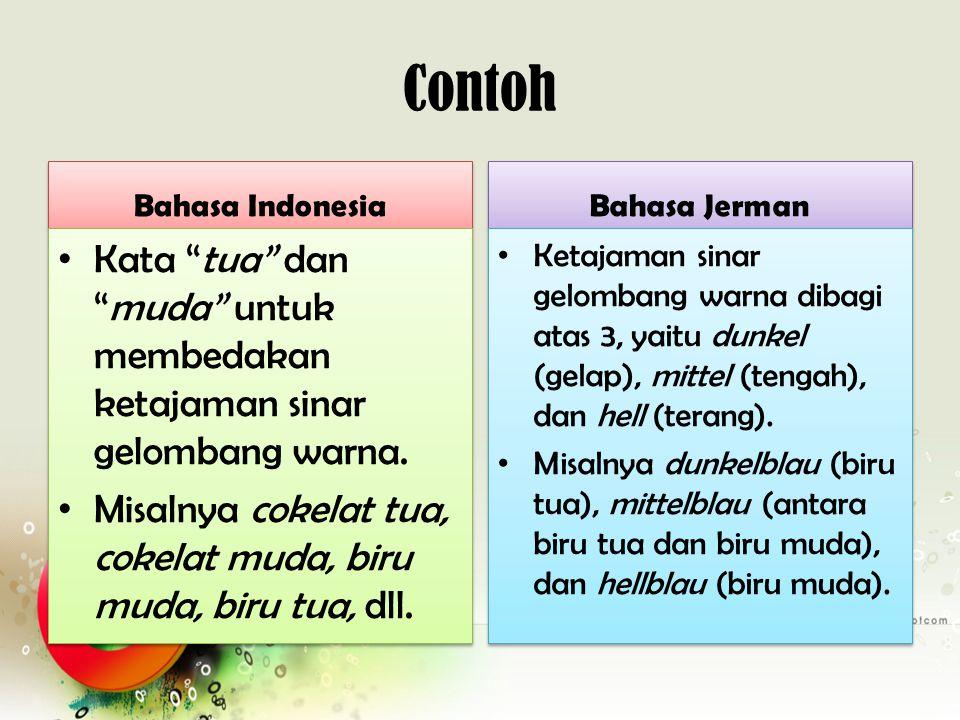 Penjelasan 1 unsur luar bahasa yang sama diklasifikasikan berbeda Perbandingan kosakata warna dalam bahasa Indonesia & bahasa Jerman tersebut memperlihatkan bahwa unsur luar bahasa yang sama, yaitu warna, diklasifikasikan berbeda dalam dua masyarakat berbeda, yaitu masyarakat bahasa Indonesia dan masyarakat bahasa Jerman.