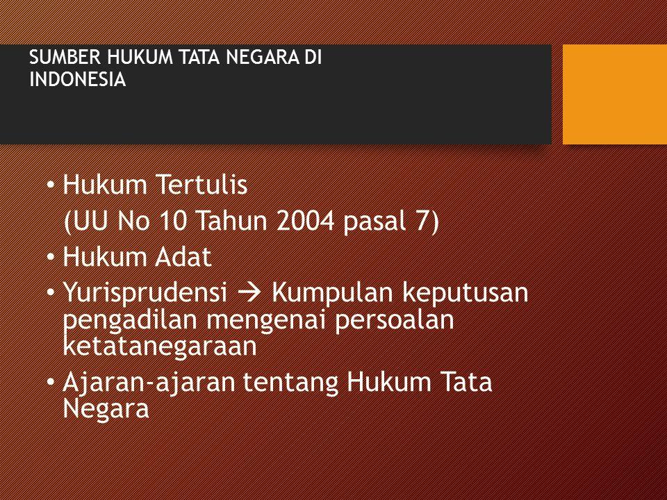 SUMBER HUKUM TATA NEGARA DI INDONESIA Hukum Tertulis (UU No 10 Tahun 2004 pasal 7) Hukum Adat Yurisprudensi  Kumpulan keputusan pengadilan mengenai p