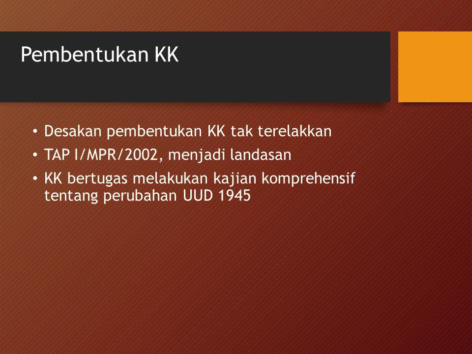 Pembentukan KK Desakan pembentukan KK tak terelakkan TAP I/MPR/2002, menjadi landasan KK bertugas melakukan kajian komprehensif tentang perubahan UUD