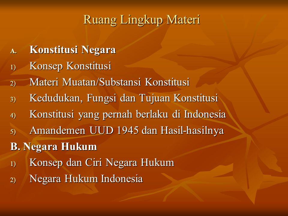 4) Konstitusi yang pernah berlaku di Indonesia  Konstitusi negara Indonesia adalah Undang-Undang Dasar 1945 yang untuk pertama kali disahkan oleh PPKI tanggal 18 Agustus 1945  Dalam tata susunan peraturan perundang-undangan negara, UUD 1945 menempati tingkat tertinggi.