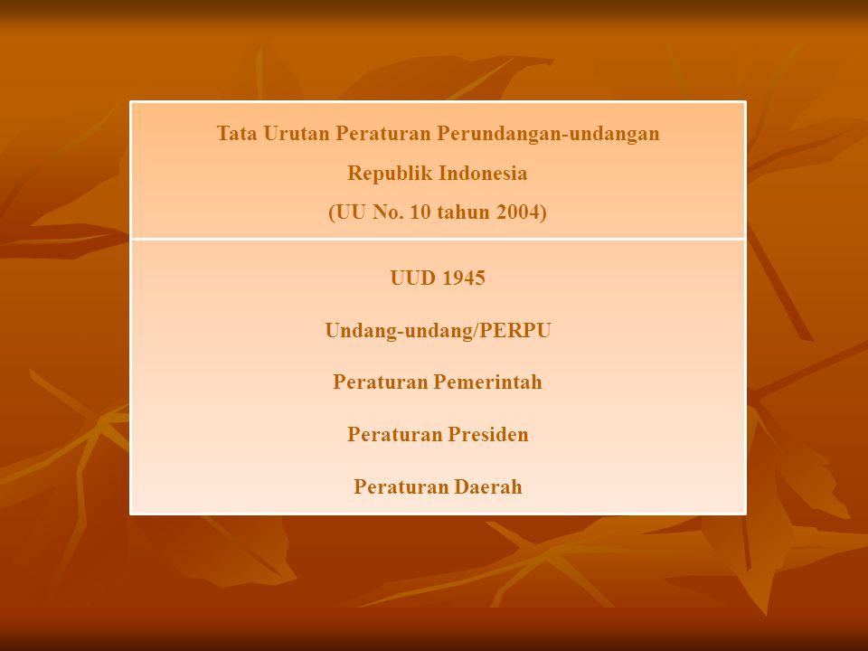 Tata Urutan Peraturan Perundangan-undangan Republik Indonesia (UU No. 10 tahun 2004) UUD 1945 Undang-undang/PERPU Peraturan Pemerintah Peraturan Presi