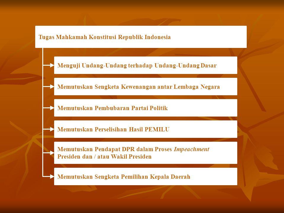 Tugas Mahkamah Konstitusi Republik Indonesia Menguji Undang-Undang terhadap Undang-Undang Dasar Memutuskan Sengketa Kewenangan antar Lembaga Negara Me