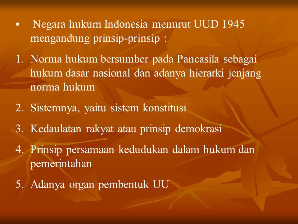  Negara hukum Indonesia menurut UUD 1945 mengandung prinsip-prinsip : 1.Norma hukum bersumber pada Pancasila sebagai hukum dasar nasional dan adanya