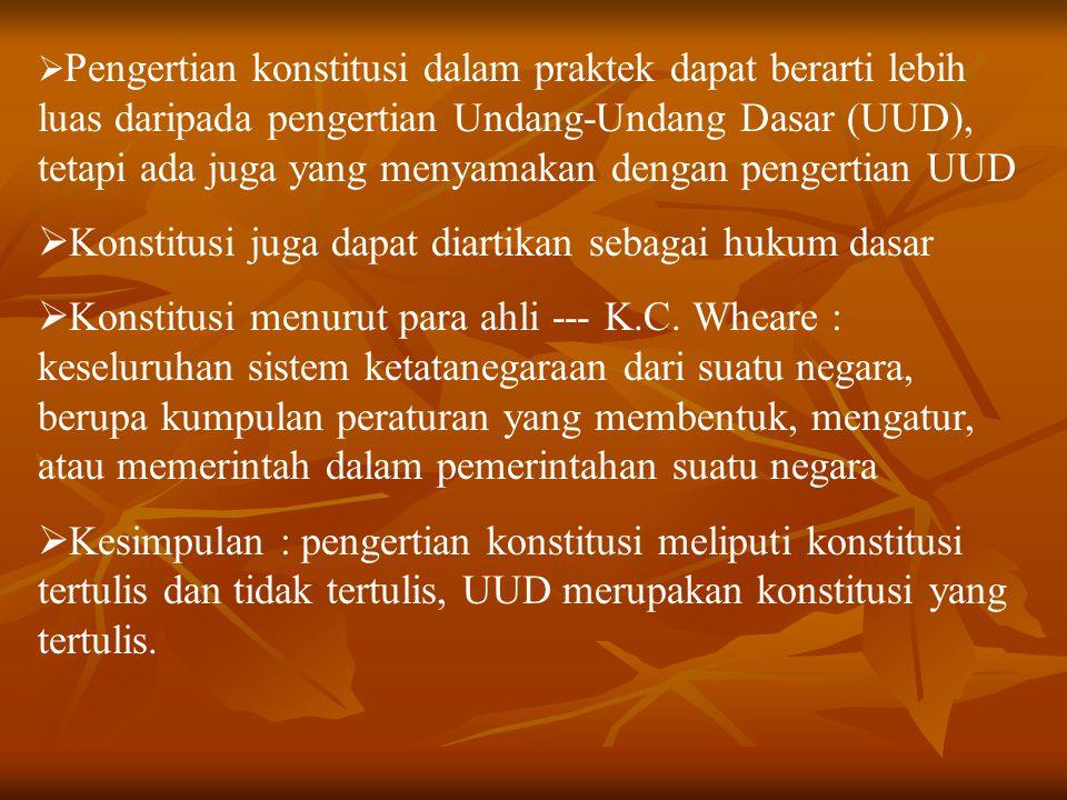  Negara hukum Indonesia menurut UUD 1945 mengandung prinsip-prinsip : 1.Norma hukum bersumber pada Pancasila sebagai hukum dasar nasional dan adanya hierarki jenjang norma hukum 2.Sistemnya, yaitu sistem konstitusi 3.Kedaulatan rakyat atau prinsip demokrasi 4.Prinsip persamaan kedudukan dalam hukum dan pemerintahan 5.Adanya organ pembentuk UU