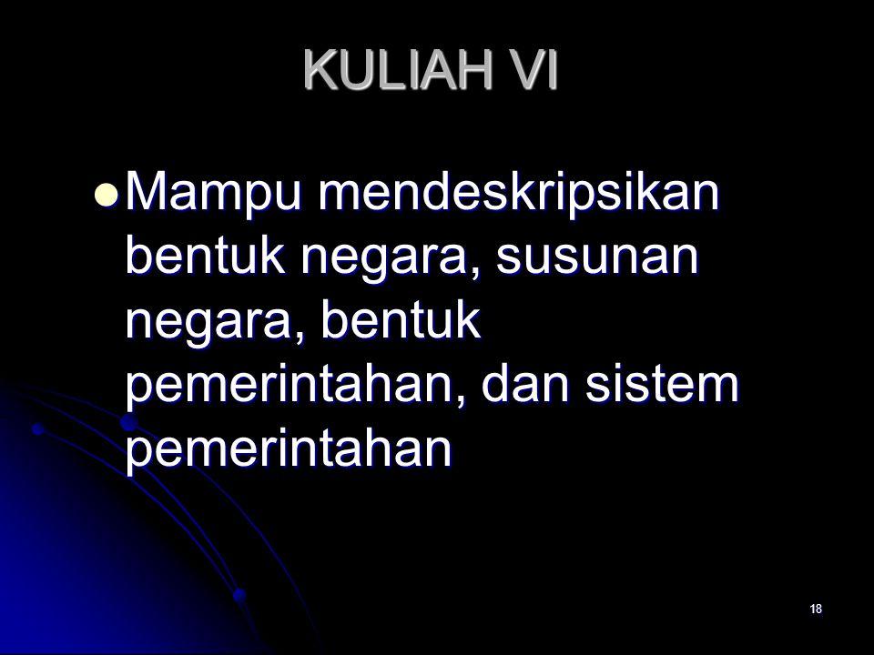 KULIAH VI Mampu mendeskripsikan bentuk negara, susunan negara, bentuk pemerintahan, dan sistem pemerintahan Mampu mendeskripsikan bentuk negara, susun