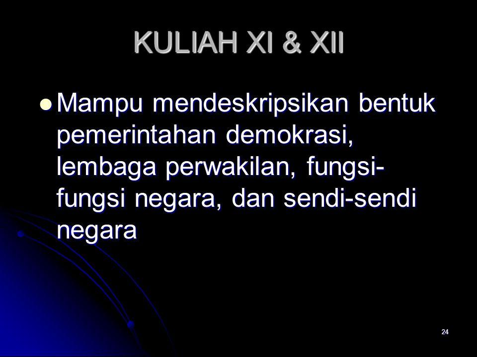KULIAH XI & XII Mampu mendeskripsikan bentuk pemerintahan demokrasi, lembaga perwakilan, fungsi- fungsi negara, dan sendi-sendi negara Mampu mendeskri