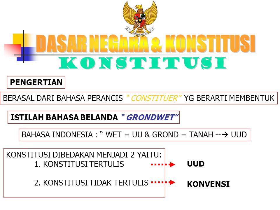 """PENGERTIAN BERASAL DARI BAHASA PERANCIS """" CONSTITUER"""" YG BERARTI MEMBENTUK ISTILAH BAHASA BELANDA """" GRONDWET"""" BAHASA INDONESIA : """" WET = UU & GROND ="""