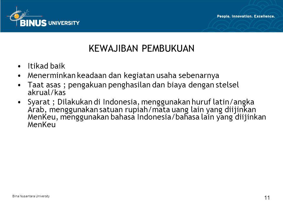 Bina Nusantara University 11 KEWAJIBAN PEMBUKUAN Itikad baik Menerminkan keadaan dan kegiatan usaha sebenarnya Taat asas ; pengakuan penghasilan dan b