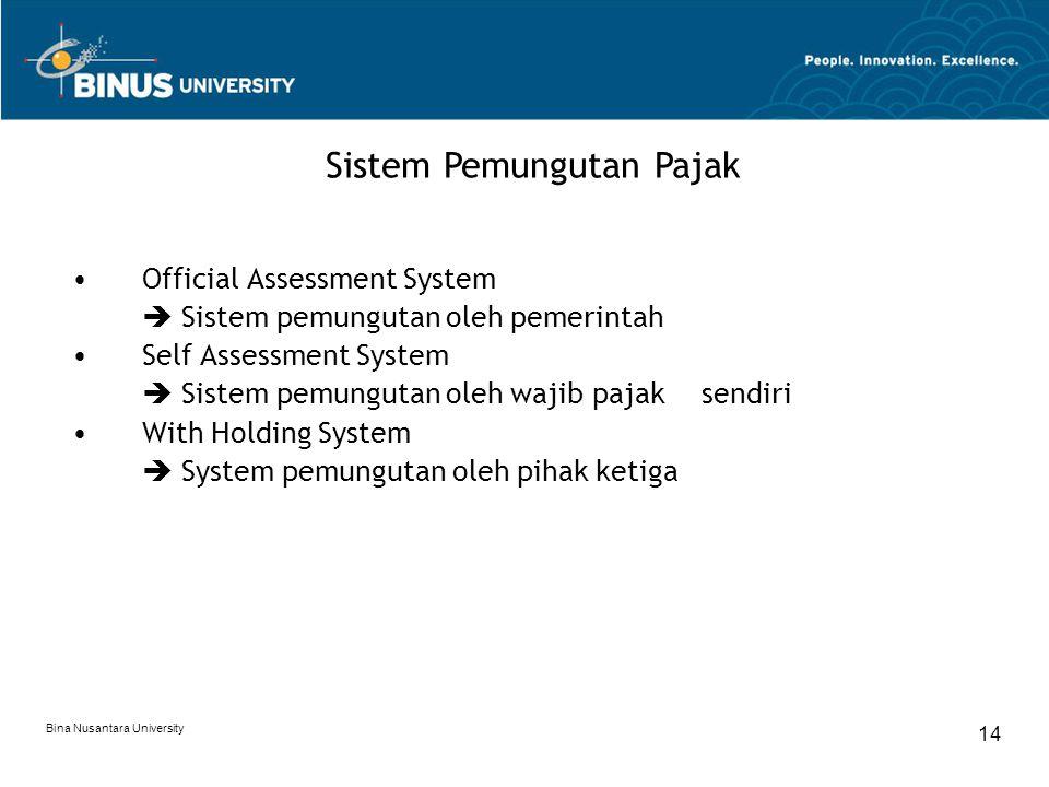 Bina Nusantara University 14 Official Assessment System  Sistem pemungutan oleh pemerintah Self Assessment System  Sistem pemungutan oleh wajib paja