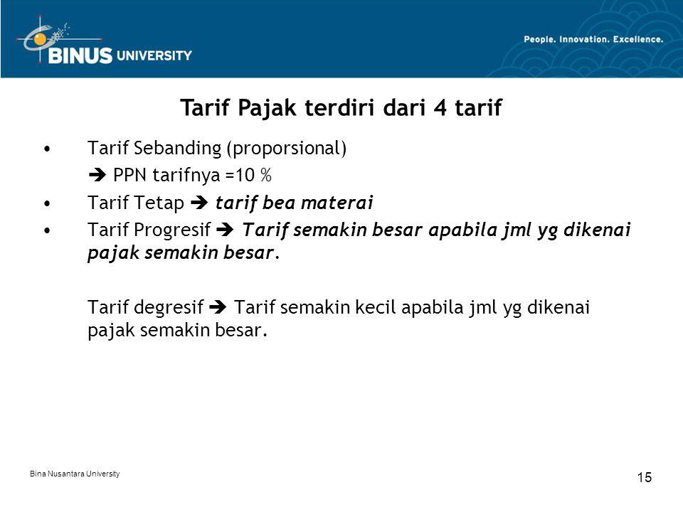 Bina Nusantara University 15 Tarif Sebanding (proporsional)  PPN tarifnya =10 % Tarif Tetap  tarif bea materai Tarif Progresif  Tarif semakin besar
