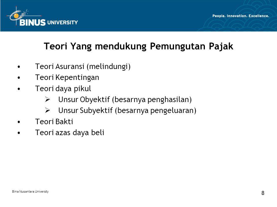 Bina Nusantara University 8 Teori Yang mendukung Pemungutan Pajak Teori Asuransi (melindungi) Teori Kepentingan Teori daya pikul  Unsur Obyektif (bes