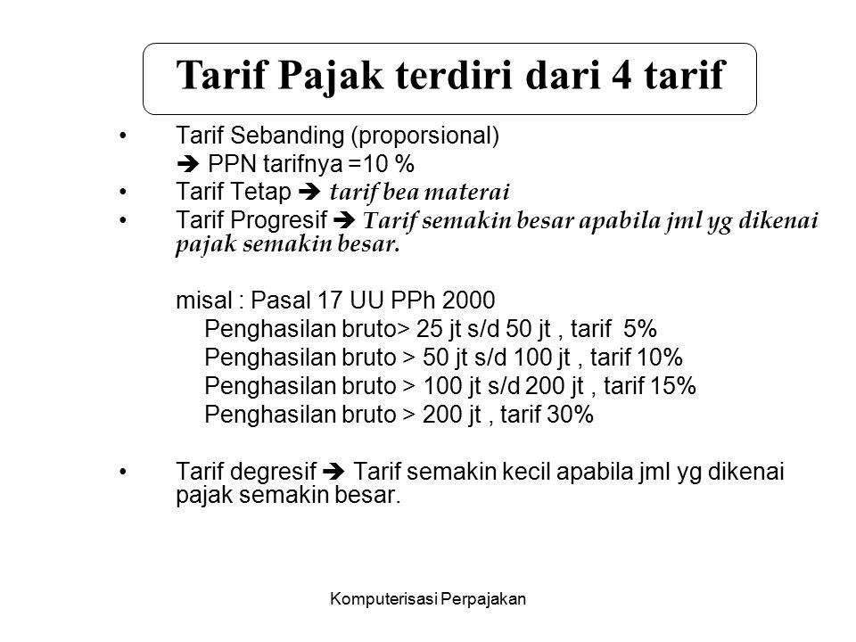 Komputerisasi Perpajakan Tarif Sebanding (proporsional)  PPN tarifnya =10 % Tarif Tetap  tarif bea materai Tarif Progresif  Tarif semakin besar apa
