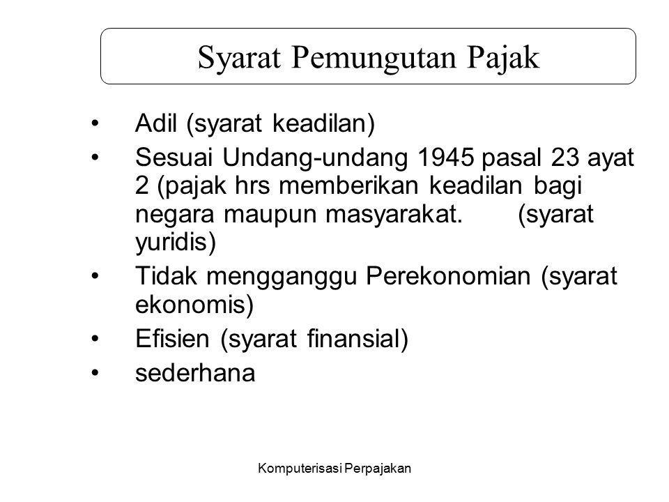 Komputerisasi Perpajakan Adil (syarat keadilan) Sesuai Undang-undang 1945 pasal 23 ayat 2 (pajak hrs memberikan keadilan bagi negara maupun masyarakat