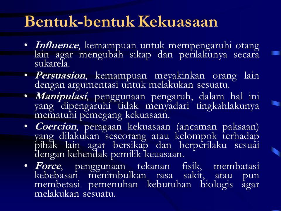 Sumber Kekuasaan Legitimate Power  perolehan kekuasaan melalui pengangkatan (UU, SK, dll) Coersive Power  perolehan kekuasaan melalui cara kekerasan (perebutan atau perampasan bersenjata, unconstitutional, kudeta (coup d' etat).