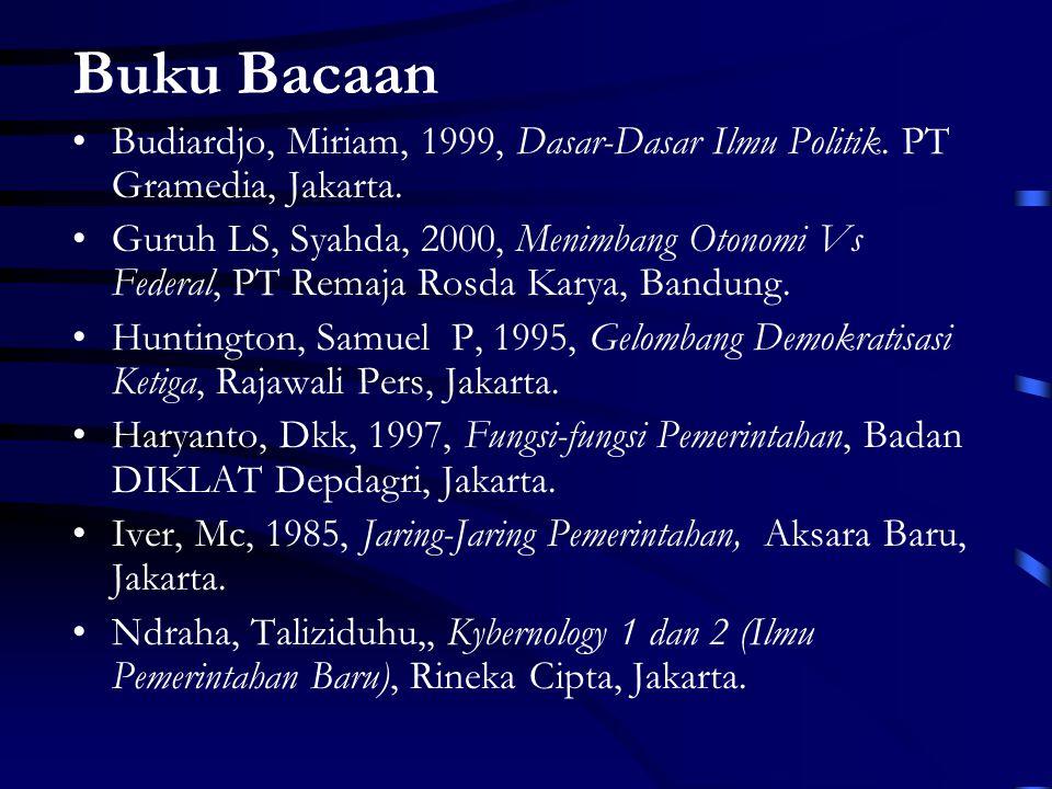 Buku Bacaan Budiardjo, Miriam, 1999, Dasar-Dasar Ilmu Politik.