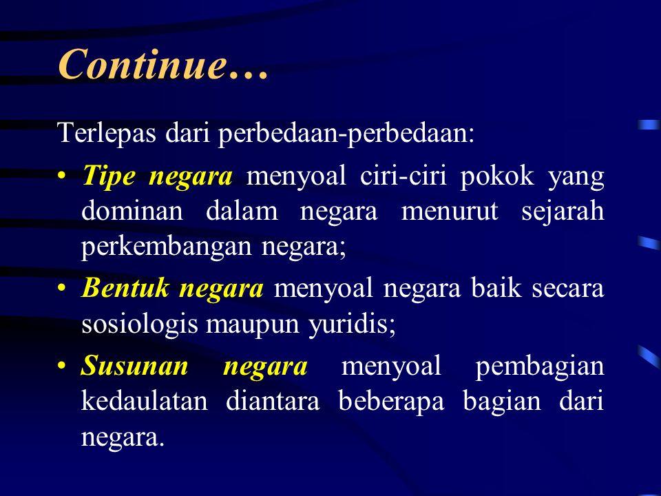 Continue….Istilah bentuk negara harus dibedakan dengan bentuk pemerintahan (M.