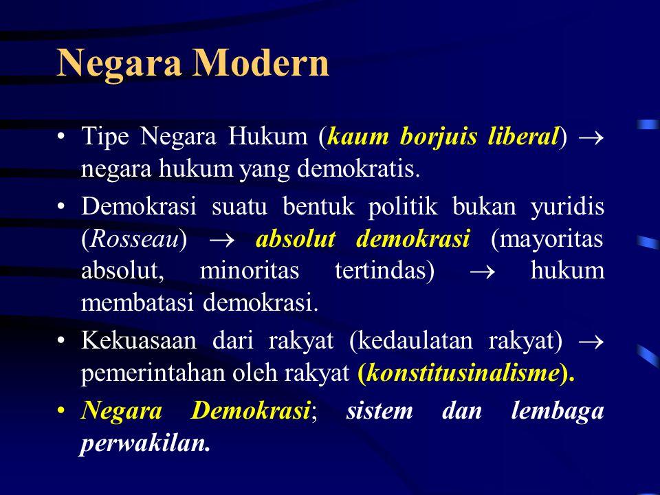 Negara Abad Pertengahan Lanjutan dari tipe negara Romawi Kuno Teori hukum perdata (dasar-dasar dalam bernegara)  faham dualisme (hak raja (rex), hak rakyat (regnum).