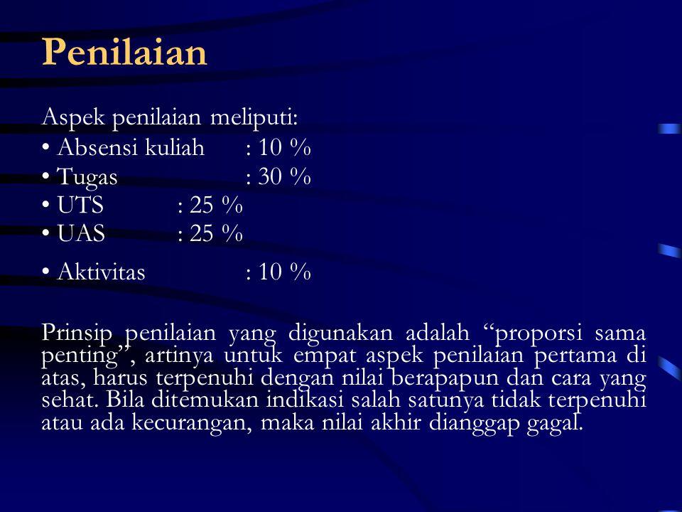 Penilaian Aspek penilaian meliputi: Absensi kuliah: 10 % Tugas: 30 % UTS: 25 % UAS: 25 % Aktivitas : 10 % Prinsip penilaian yang digunakan adalah proporsi sama penting , artinya untuk empat aspek penilaian pertama di atas, harus terpenuhi dengan nilai berapapun dan cara yang sehat.