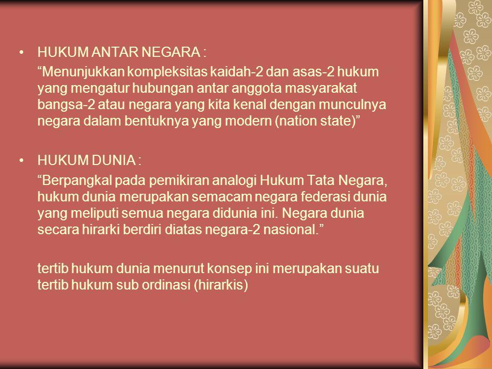 """HUKUM ANTAR NEGARA : """"Menunjukkan kompleksitas kaidah-2 dan asas-2 hukum yang mengatur hubungan antar anggota masyarakat bangsa-2 atau negara yang kit"""