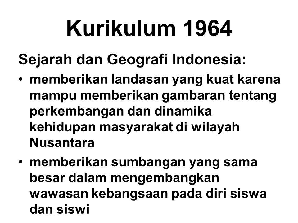 Kurikulum 1964 Sejarah dan Geografi Indonesia: memberikan landasan yang kuat karena mampu memberikan gambaran tentang perkembangan dan dinamika kehidu