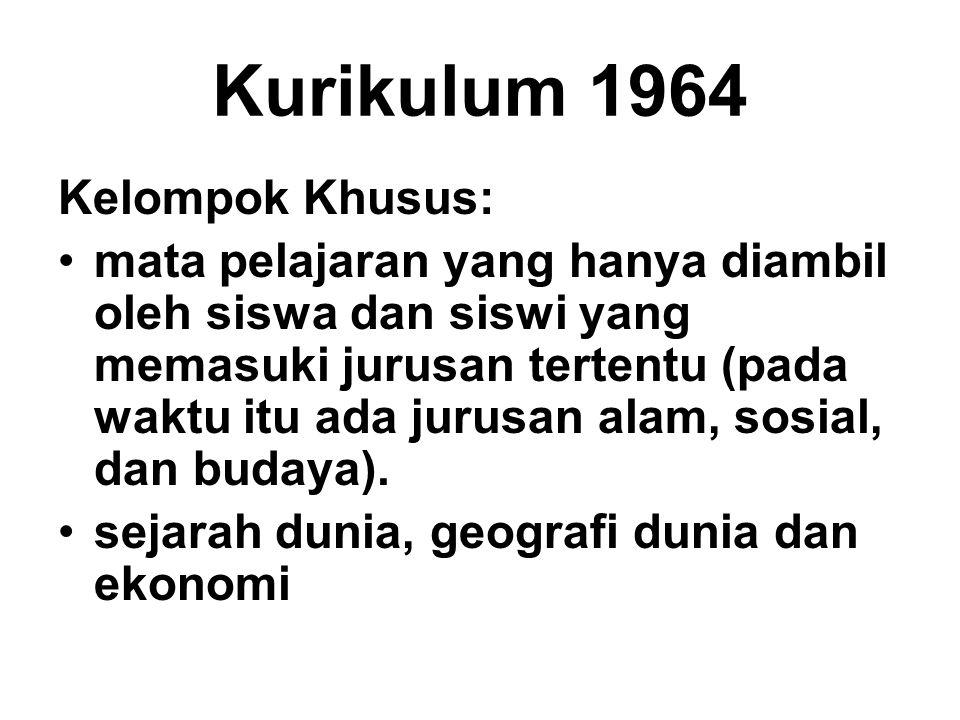 Kurikulum 1964 Kelompok Khusus: mata pelajaran yang hanya diambil oleh siswa dan siswi yang memasuki jurusan tertentu (pada waktu itu ada jurusan alam
