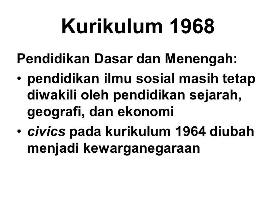 Kurikulum 1968 Pendidikan Dasar dan Menengah: pendidikan ilmu sosial masih tetap diwakili oleh pendidikan sejarah, geografi, dan ekonomi civics pada k