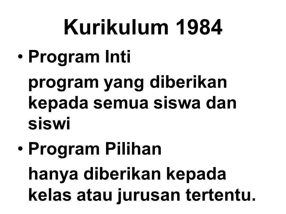 Kurikulum 1984 Program Inti program yang diberikan kepada semua siswa dan siswi Program Pilihan hanya diberikan kepada kelas atau jurusan tertentu.
