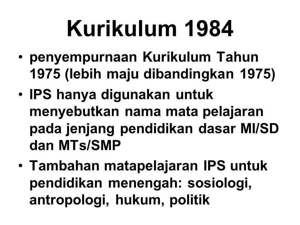 Kurikulum 1984 penyempurnaan Kurikulum Tahun 1975 (lebih maju dibandingkan 1975) IPS hanya digunakan untuk menyebutkan nama mata pelajaran pada jenjan