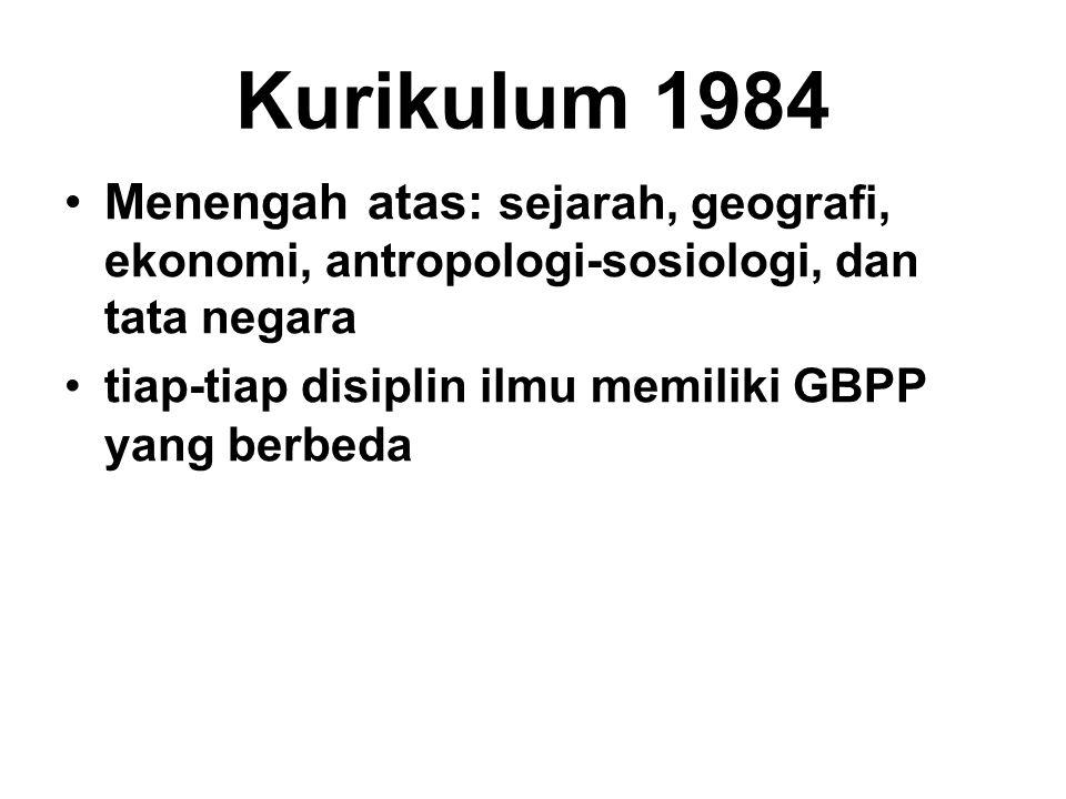 Kurikulum 1984 Menengah atas: sejarah, geografi, ekonomi, antropologi-sosiologi, dan tata negara tiap-tiap disiplin ilmu memiliki GBPP yang berbeda