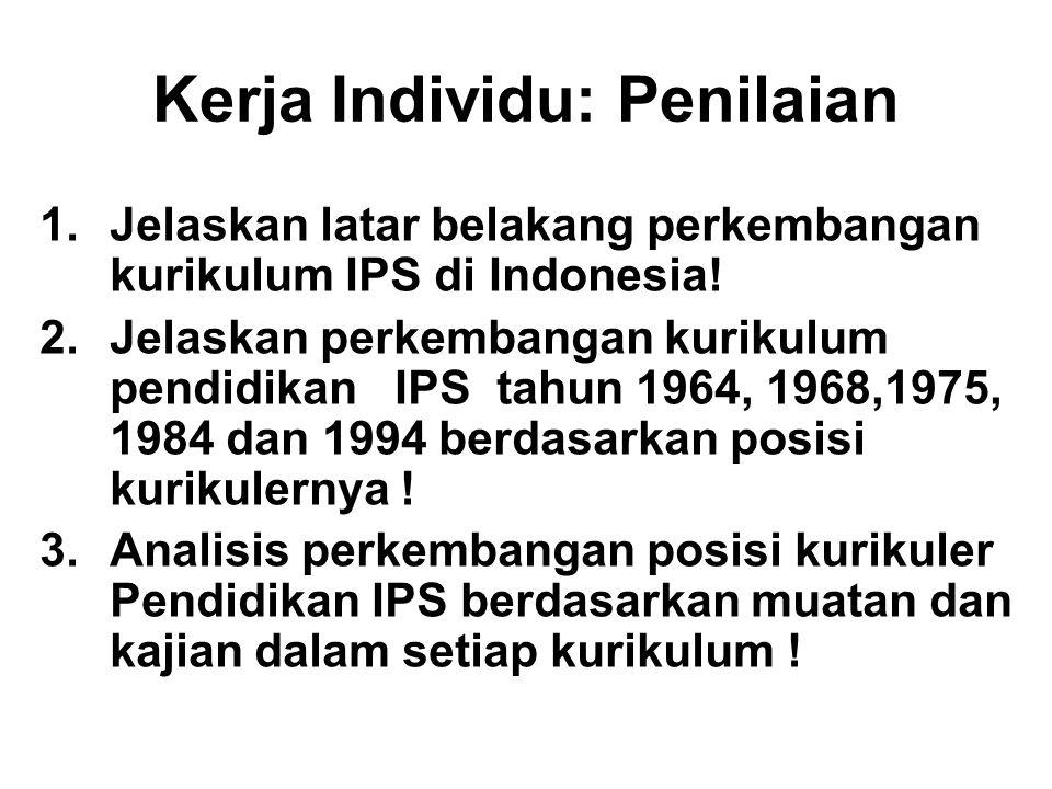 1.Jelaskan latar belakang perkembangan kurikulum IPS di Indonesia! 2.Jelaskan perkembangan kurikulum pendidikan IPS tahun 1964, 1968,1975, 1984 dan 19