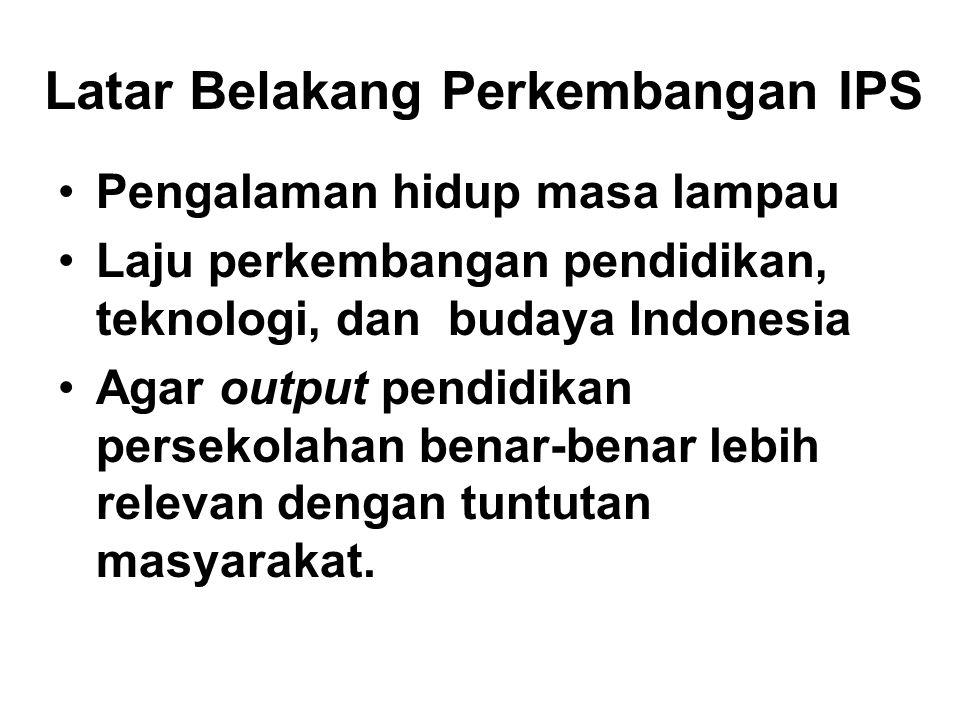 Latar Belakang Perkembangan IPS Pengalaman hidup masa lampau Laju perkembangan pendidikan, teknologi, dan budaya Indonesia Agar output pendidikan pers