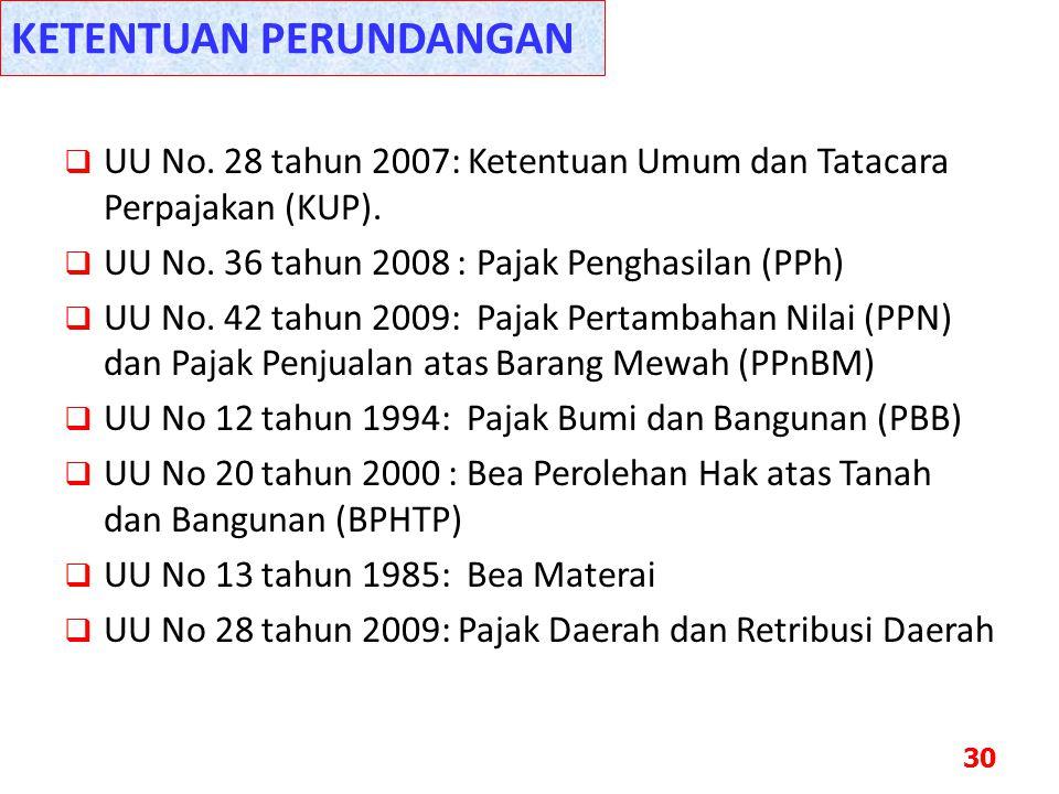  UU No. 28 tahun 2007: Ketentuan Umum dan Tatacara Perpajakan (KUP).  UU No. 36 tahun 2008 : Pajak Penghasilan (PPh)  UU No. 42 tahun 2009: Pajak P