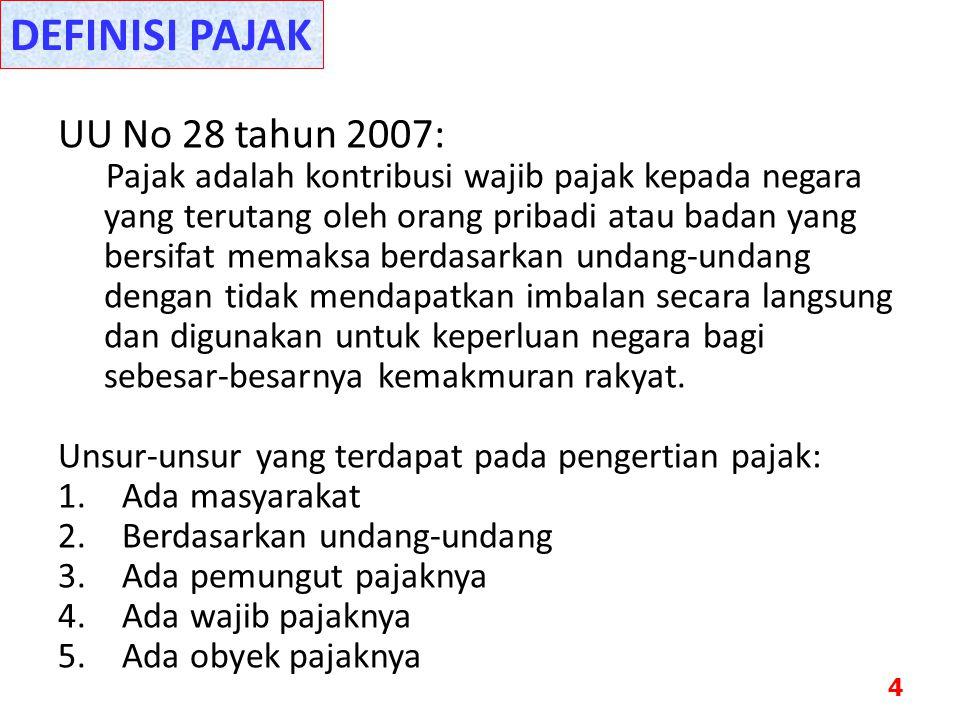 UU No 28 tahun 2007: Pajak adalah kontribusi wajib pajak kepada negara yang terutang oleh orang pribadi atau badan yang bersifat memaksa berdasarkan u