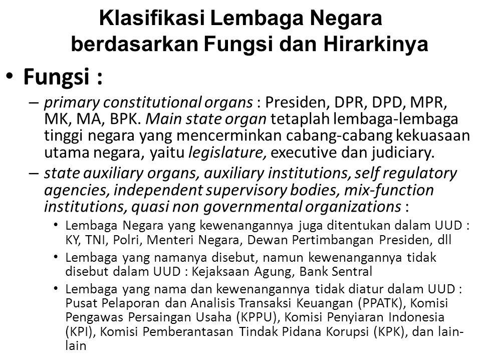 Klasifikasi Lembaga Negara berdasarkan Fungsi dan Hirarkinya Fungsi : – primary constitutional organs : Presiden, DPR, DPD, MPR, MK, MA, BPK. Main sta