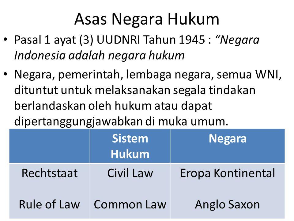 Asas Negara Hukum Pasal 1 ayat (3) UUDNRI Tahun 1945 : Negara Indonesia adalah negara hukum Negara, pemerintah, lembaga negara, semua WNI, dituntut untuk melaksanakan segala tindakan berlandaskan oleh hukum atau dapat dipertanggungjawabkan di muka umum.